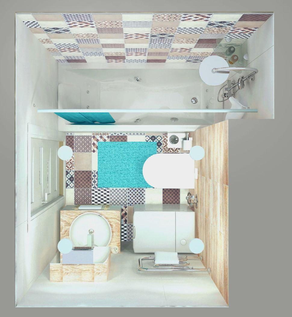 Интерьер ванной комнаты 3 кв.м. в светлых тонах, мойка, гигиенический душ, унитаз, плитка керамическая, штора
