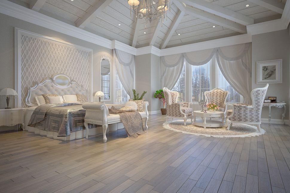 Визуализация спальни 30 кв.м в классическом стиле, кровать, серые портьеры, столик, бежевое кресло