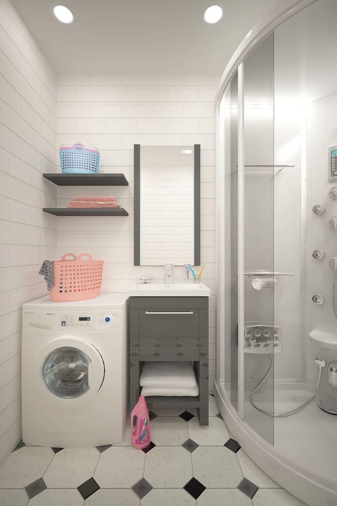 Дизайн душевой 4 кв.м в светлых оттенках с темными акцентами, стиральная машина, душевая, мойка, санузел, керамическая плитка, зеркало, полки