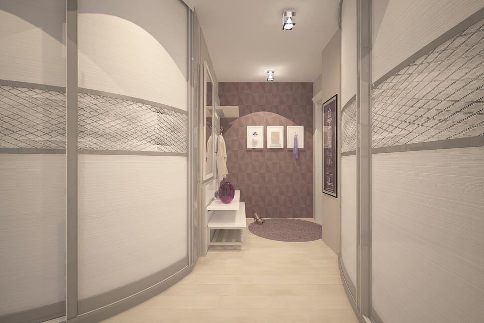 Визуализация коридора 7 кв.м в теплых тонах, шкаф, белая тумба, вешалка, зеркало, светильники