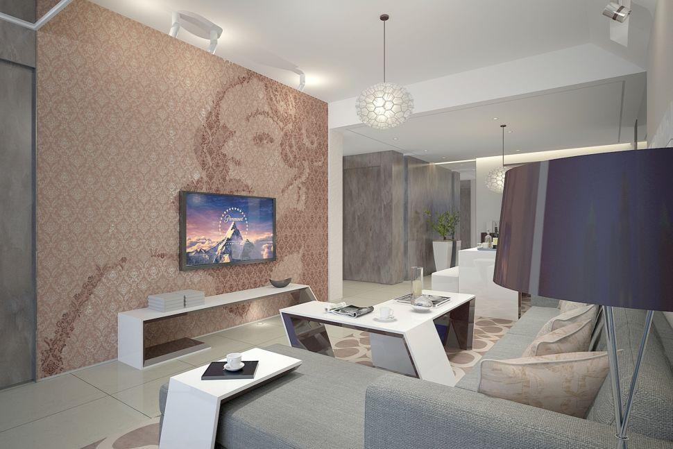 Дизайн гостиной 37 кв.м в современном стиле, фотообои, белый журнальный столик, белый приставной столик, тумба под ТВ, телевизор