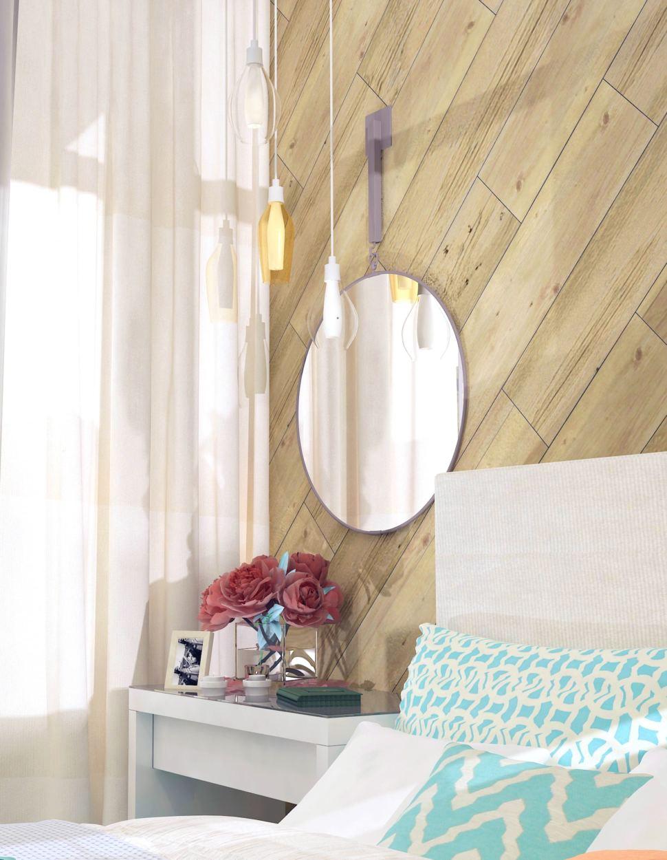 Дизайн комнаты 19 кв.м. в природных тонах с акцентами, стеллаж, белая кровать, кирпич, пвх плитка