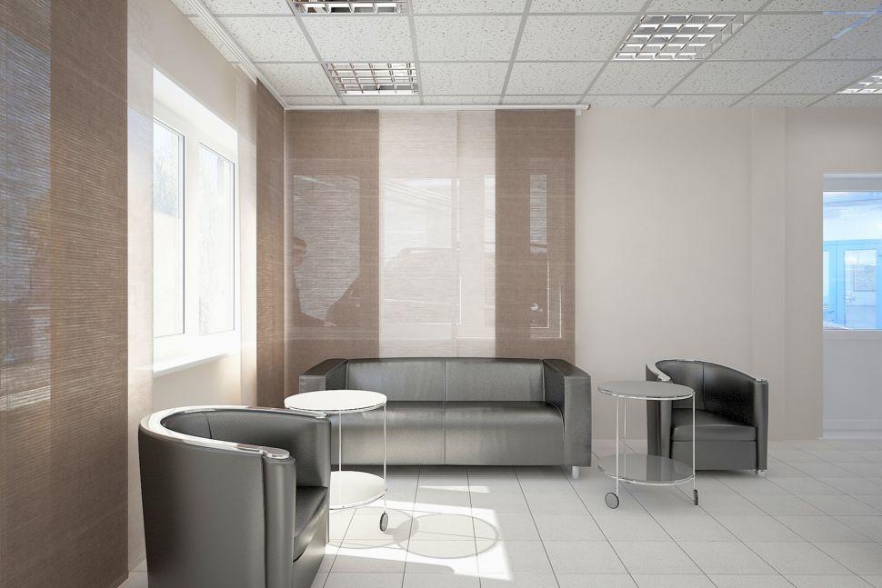 Визуализации помещения для отдыха в бежевых тонах, журнальный столик, два кресла и диван черные