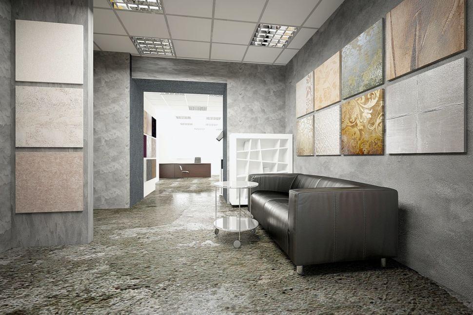 Визуализация помещения 60 кв.м в серых оттенках с акцентами, декоративная штукатурка, стенд, диван, белый стеллаж, столик