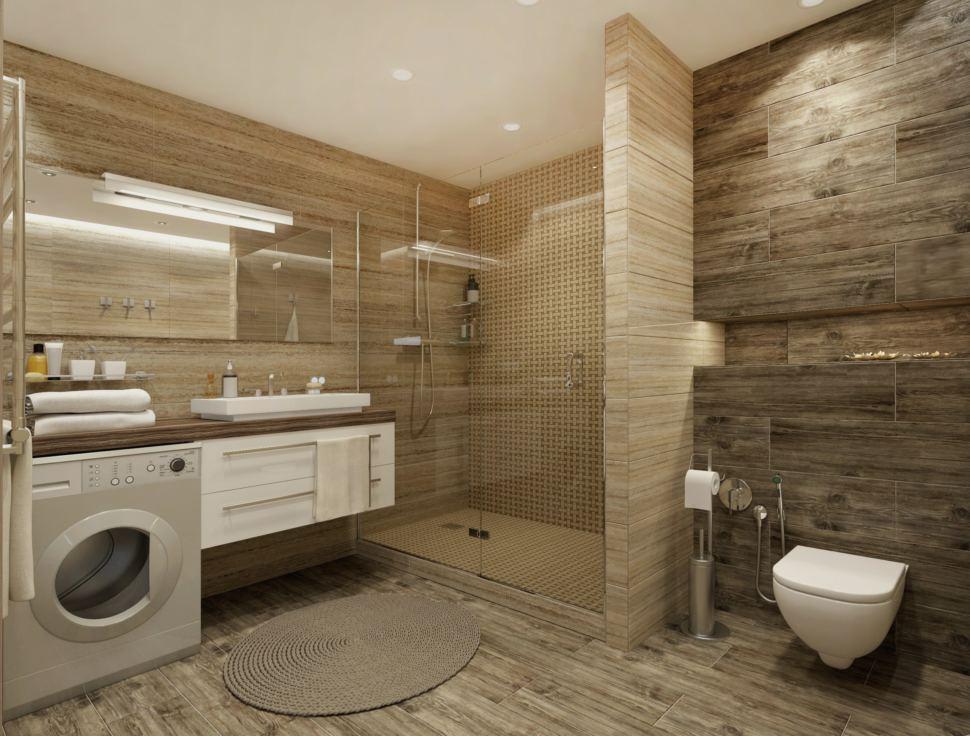 Дизайн - проект ванной 9 кв. м. в бежевых тонах,зеркало, тумба под раковину, душевая, подвесной унитаз