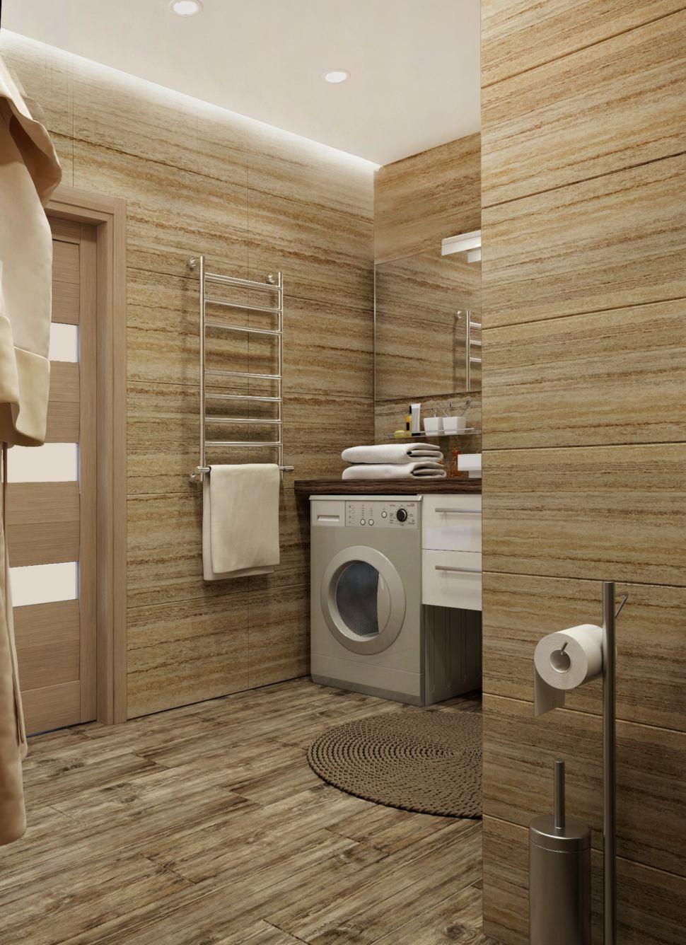 Ванная комната 9 кв. м. в бежевых тонах, полотенцесушитель, тумба под раковину, столешница под дерево, керамическая плитка