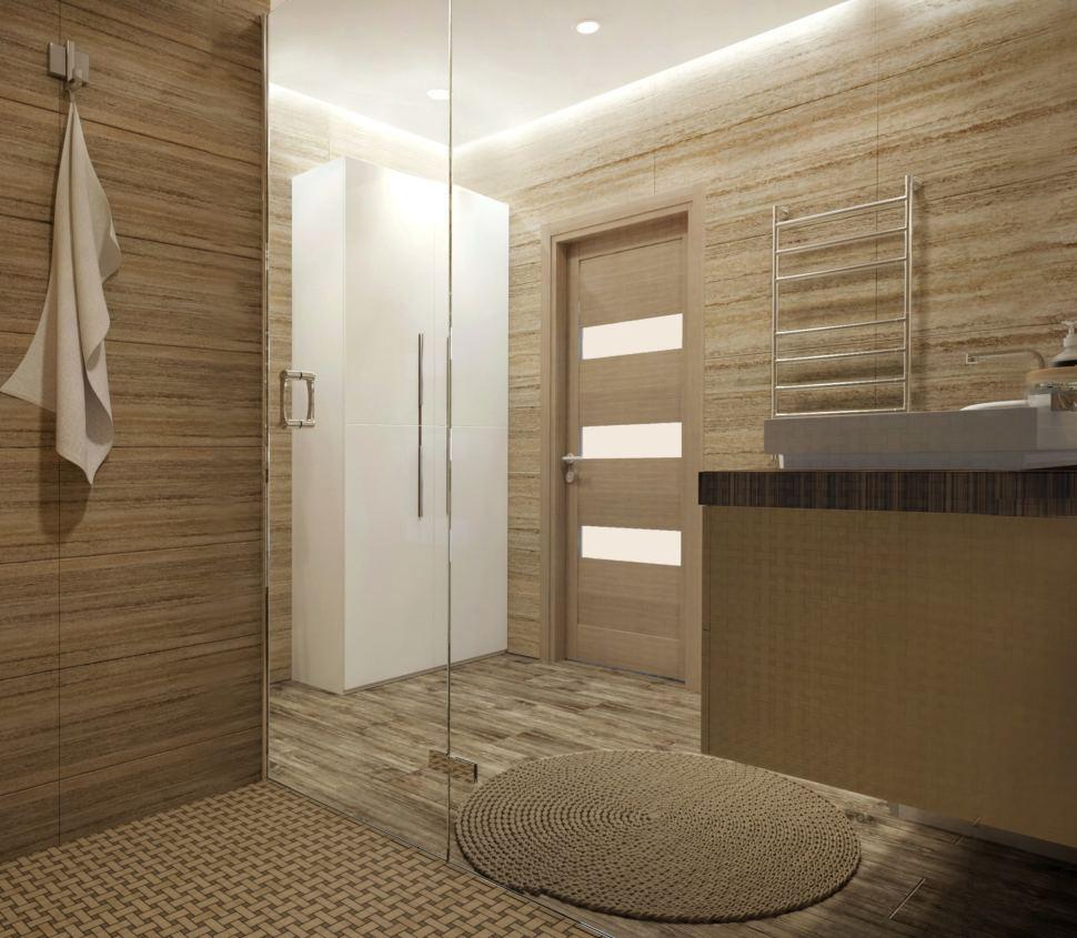 Визуализация ванной комнаты 9 кв. м. в бежевых оттенках, тумба под раковину, душевая, шкаф белый, полотенцесушитель