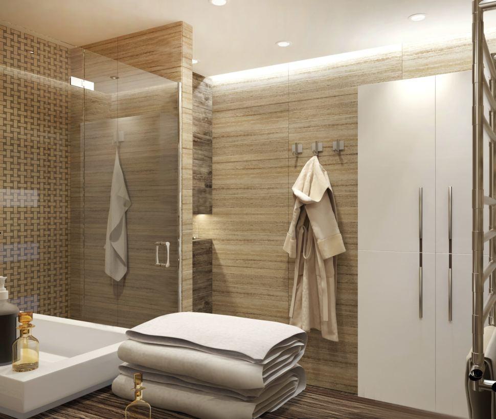Дизайн ванной комнаты 9 кв. м. в насыщенных бежевых оттенках, шкаф белый, керамическая плитка под песчаник