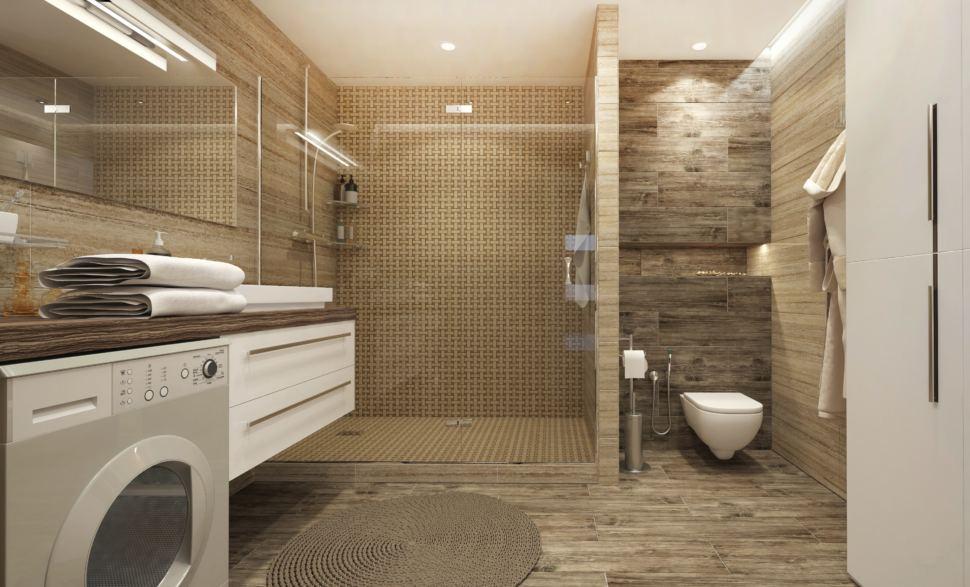 Ванная комната 9 кв. м. в природных оттенках, стиральная машина под столешницей, керамическая плитка, душевая