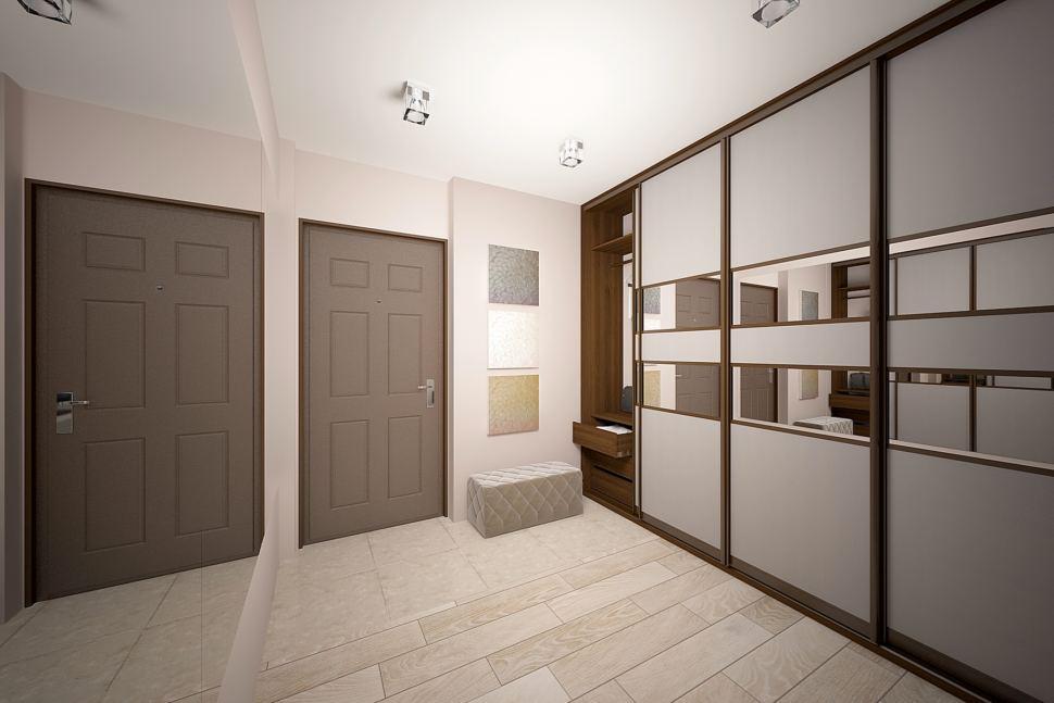 Визуализация прихожей и коридора 5 кв.м в бежевых тонах, темные межкомнатные двери, шкаф, серый пуфик, пвх плитка