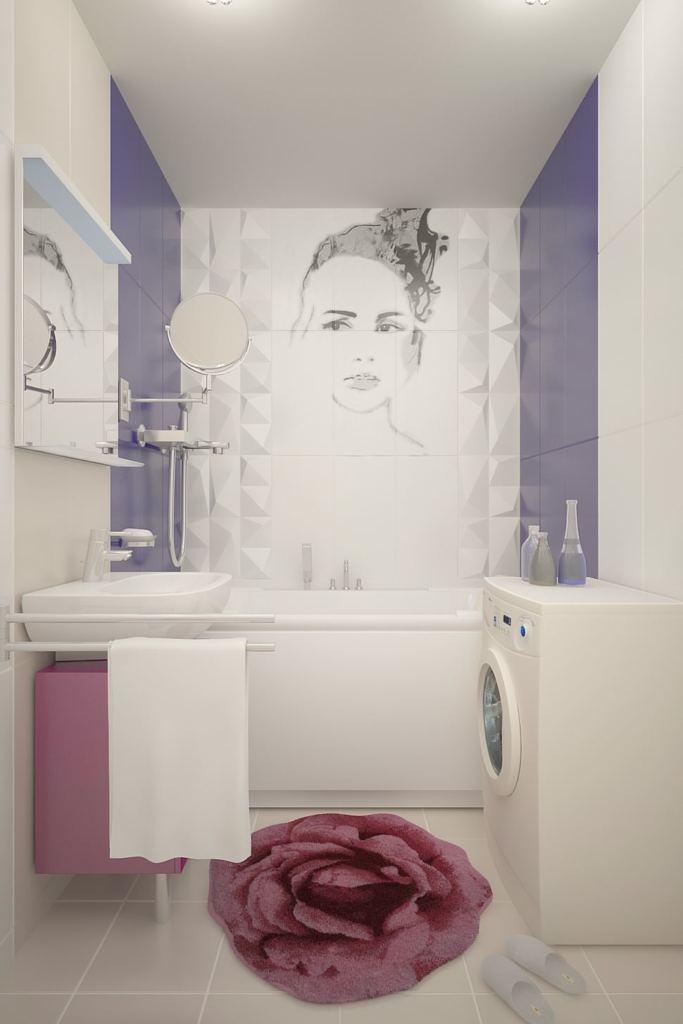 Дизайн ванной комнаты 3 кв.м в бежевых тонах с бледно-синими акцентами , подвесной унитаз, тумба, раковина, стиральная машинка