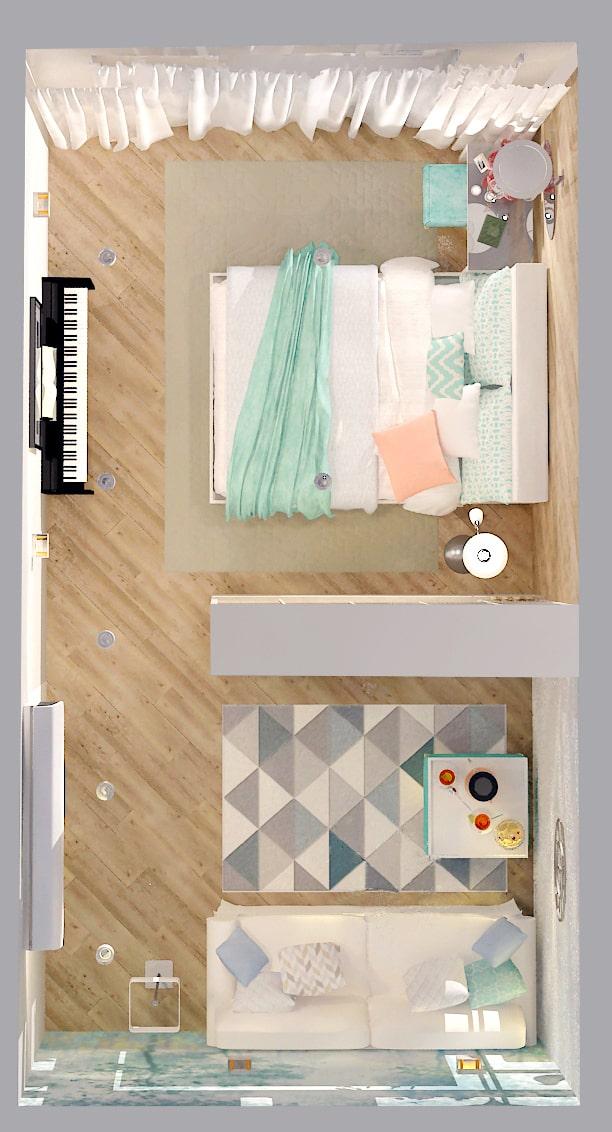 Интерьер комнаты 19 кв.м. в природных тонах с акцентами, стеллаж, диван, ковер, пвх плитка, кровать