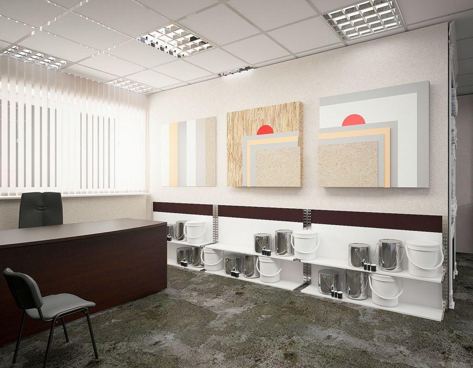 Дизайн торгового помещения 60 кв.м в серых оттенках с акцентами, декоративная штукатурка, стенд, рабочий стол, темный стулья, образцы