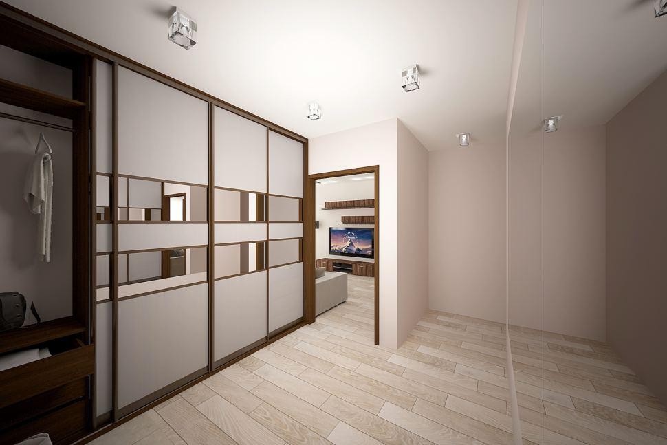 Интерьер прихожей и коридора 5 кв.м в бежевых тонах, темные межкомнатные двери, зеркала на шкафе, потолочные светильники, пвх плитка