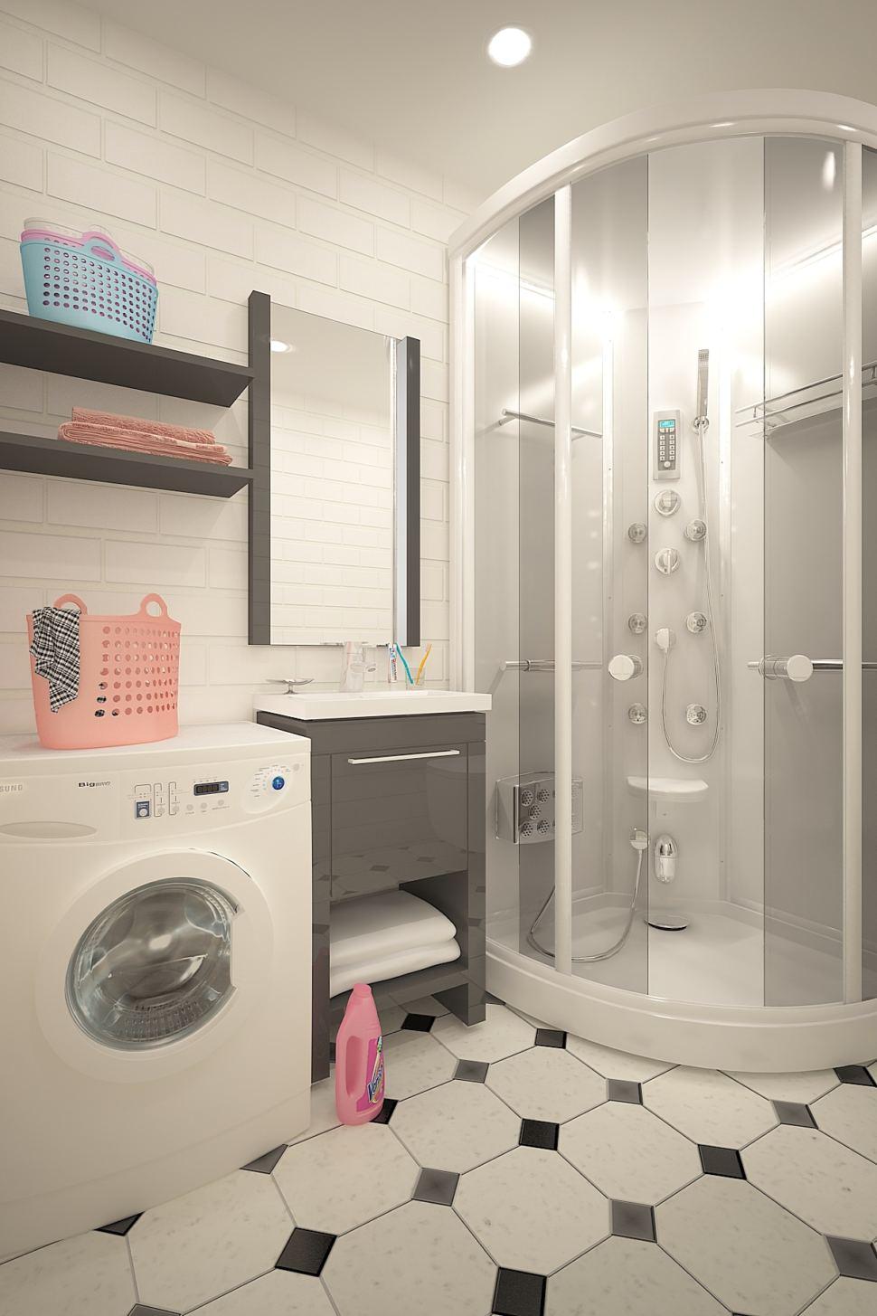 Визуализация душевой 4 кв.м в светлых оттенках с темными акцентами, стиральная машина, душевая, мойка, зеркало, плитка, светильники