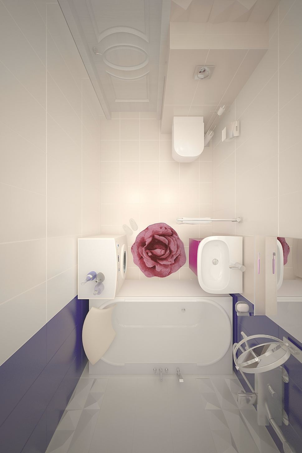 Проект ванной комнаты 3 кв.м, коврик, керамическая плитка, фиолетовый цвет, мойка, стиральная машина