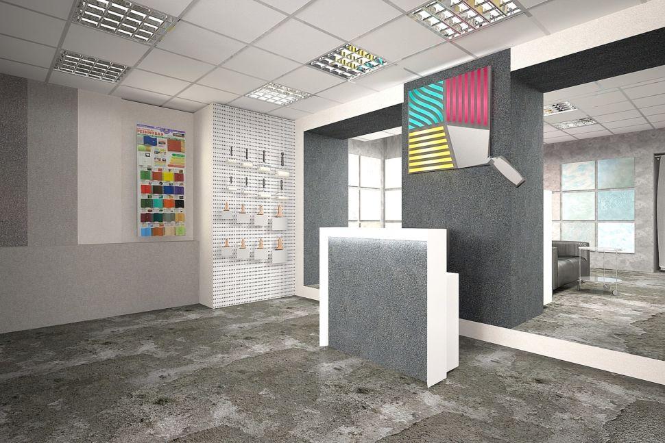 Визуализация помещения 60 кв.м в серых оттенках с акцентами, декоративная штукатурка, стенд, логотип, барная стойка, кисти, элементы декора, светильники