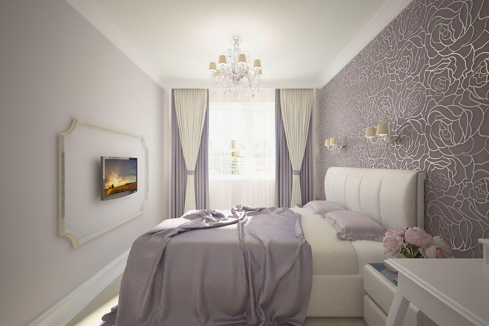 Дизайн спальни 16 кв.м в серых тонах, белые портьеры, кровать, прикроватная тумба, обои, телевизор, люстра