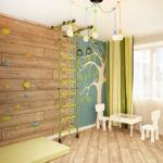 Дизайн-проект детской 16 кв.м с яркими акцентами, спортивный уголок, зеленые портьеры, белый стул, белый стол, паркет