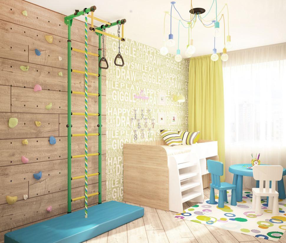 Визуализация детской 14 кв.м, детский стол, бежевая кровать, люстра, система хранения, шведская стенка, светильники