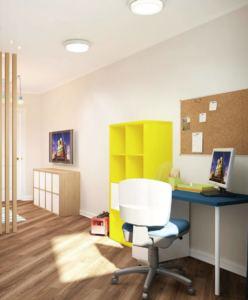 Проект детской 18 кв.м в белых тонах, пробковая доска, рабочий стол, желтый стеллаж
