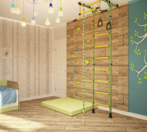 Визуализация детской 16 кв.м в желтых тонах, шведская стенка, декоративные обои, люстра