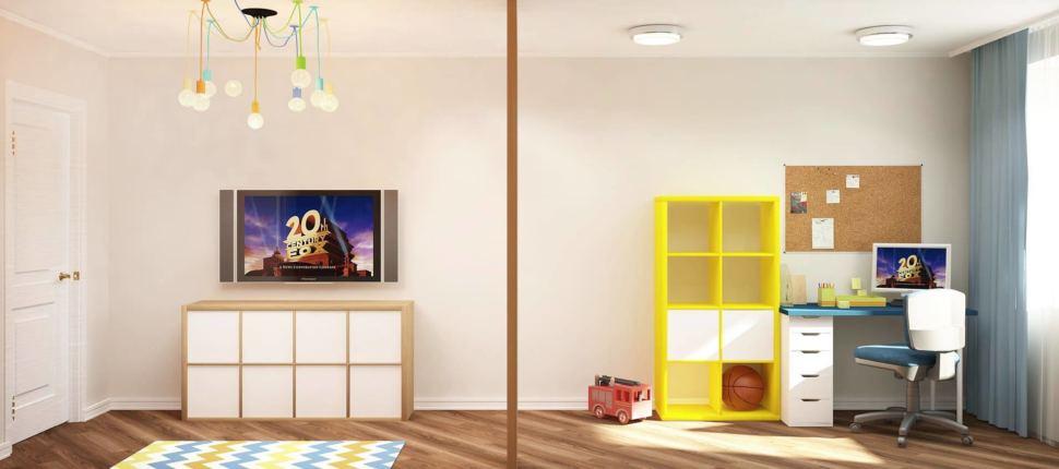 Визуализация детской комнаты 18 кв.м в желтых и синих тонах, белая тумба под ТВ, стеллаж, стол, стул, люстра