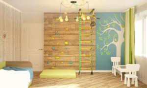 Дизайн-проект детской 16 кв.м в сине-зеленых тонах, фотообои, шведская стенка, люстра, паркет, стол, стул