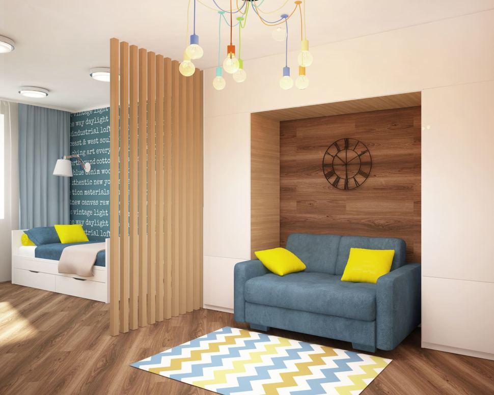 Дизайн-проект детской комнаты 18 кв.м в бежевых и желтых тонах, синий диван, люстра, кровать, ламинат