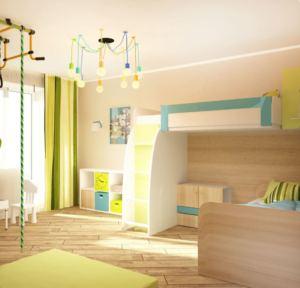 Визуализация детской 16 кв.м в древесных тонах, кровать, стеллаж, люстра, паркет, шведская стенка