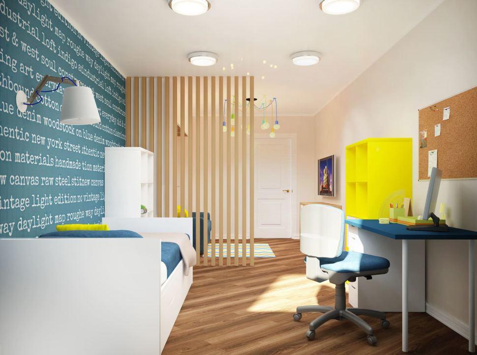 Интерьер детской комнаты 18 кв.м в синих и бежевых тонах, стол, кресло, желтый стеллаж, люстра, кровать, потолочные светильники