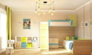 Проект детской 16 кв.м в желтых тонах, двухэтажная кровать, белый стеллаж, стол, стул, люстра