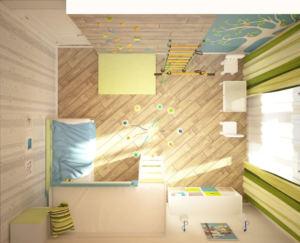 Дизайн-проект детской 16 кв.м в сине-зеленых тонах, кровать, стеллаж, стол, стул, шведская стенка