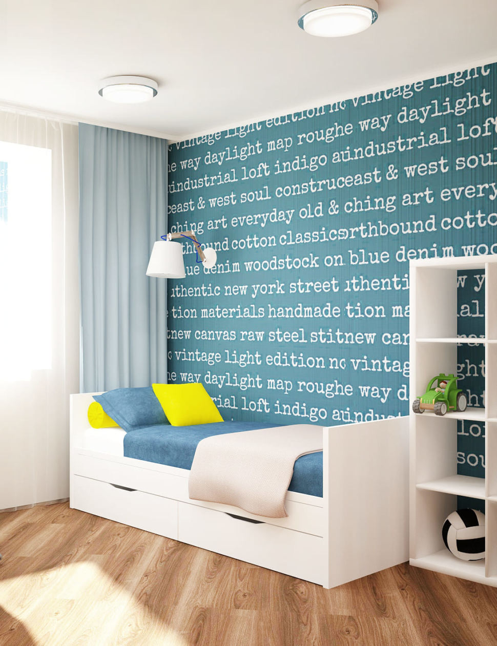 Визуализация детской комнаты 18 кв.м в желтых и синих тонах, кровать, белый стеллаж, настенные светильники, ламинат