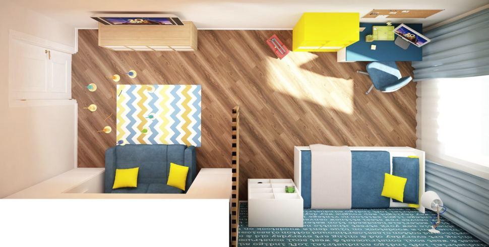 Интерьер детской комнаты 18 кв.м в желтых и синих тонах, кровать, синий диван, стол, тумба под ТВ, стеллаж