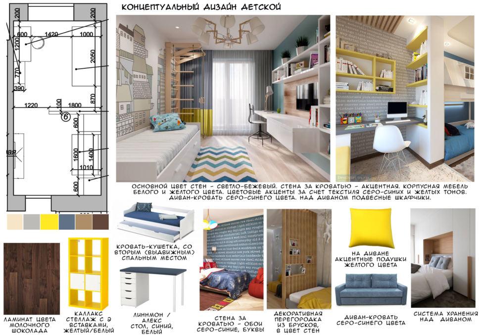 Концептуальный дизайн детской 18 кв.м, ламинат, желтый стеллаж, кровать, синий диван, люстра, стол, кресло