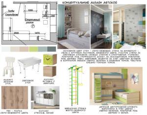Концептуальный дизайн детской 16 кв.м в зеленых тонах, люстра