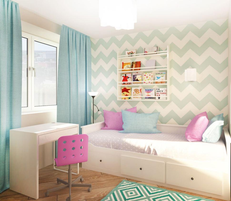 Визуализация спальни девочки 7 кв.м в нежных оттенках, декоративные обои, элементы декора, портьеры голубые, кровать, кушетка, стол, пвх плитка