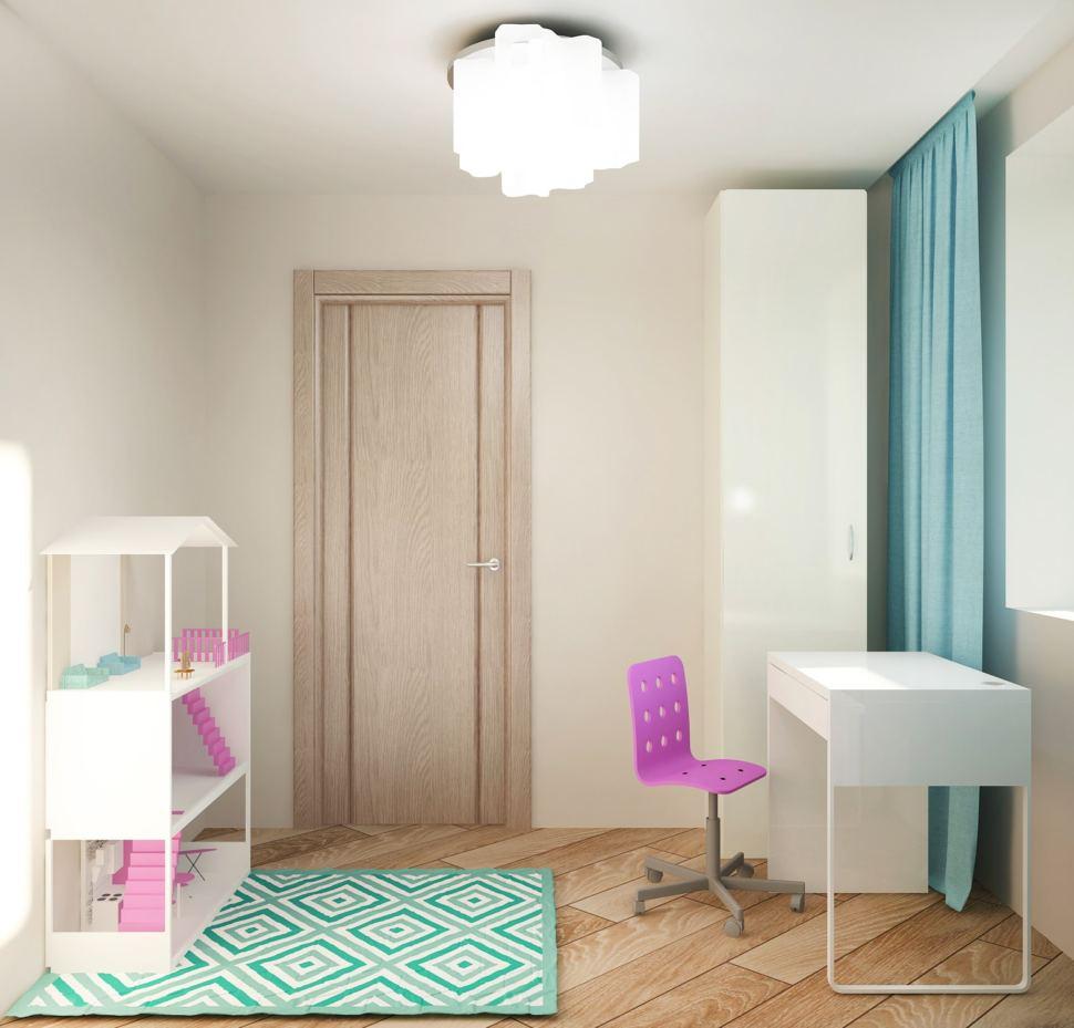 Интерьер спальни девочки 7 кв.м в нежных оттенках, обои, розовые акценты, текстиль, портьеры голубые, кукольный домик, пвх плитка