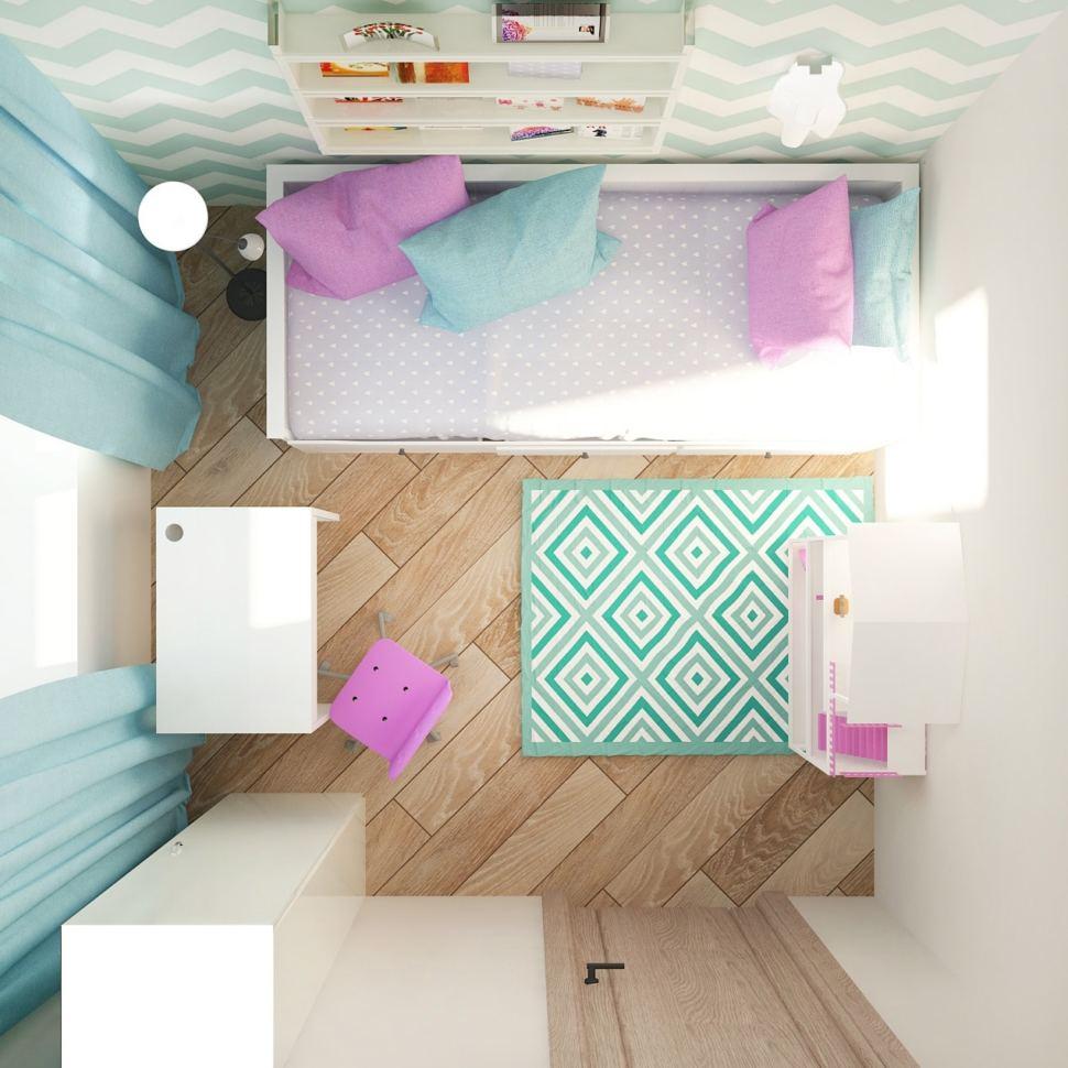 Проект спальни девочки 7 кв.м в нежных оттенках, обои, розовые акценты, текстиль, портьеры голубого цвета, пвх плитка