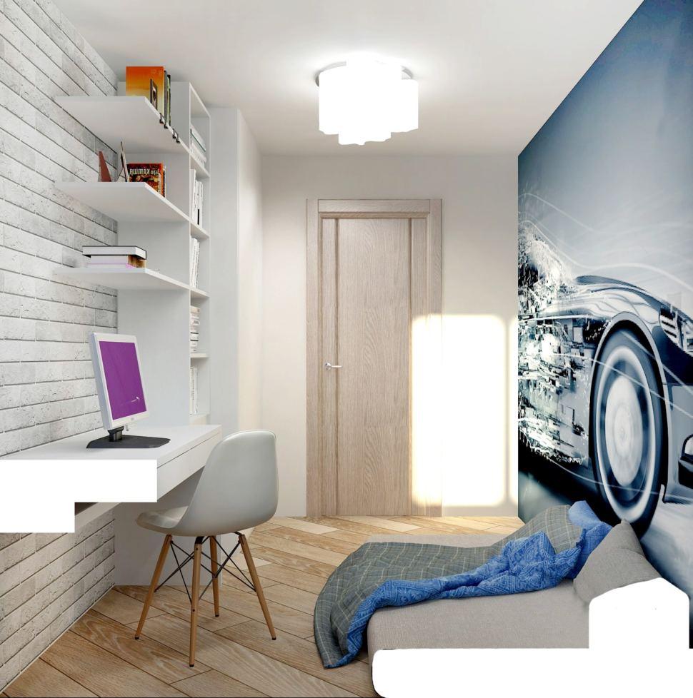 Интерьер спальни мальчика 7 кв.м в теплых тонах с акцентами, фото-панно, серый матрац, стол, стул, кирпич межкомнатная дверь