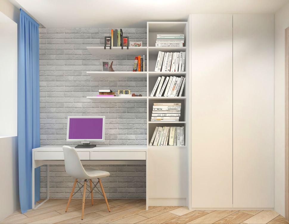 Дизайн-проект спальни мальчика 7 кв.м в теплых тонах с акцентами, белый рабочий стол, шкаф, открытые полки, белый стул
