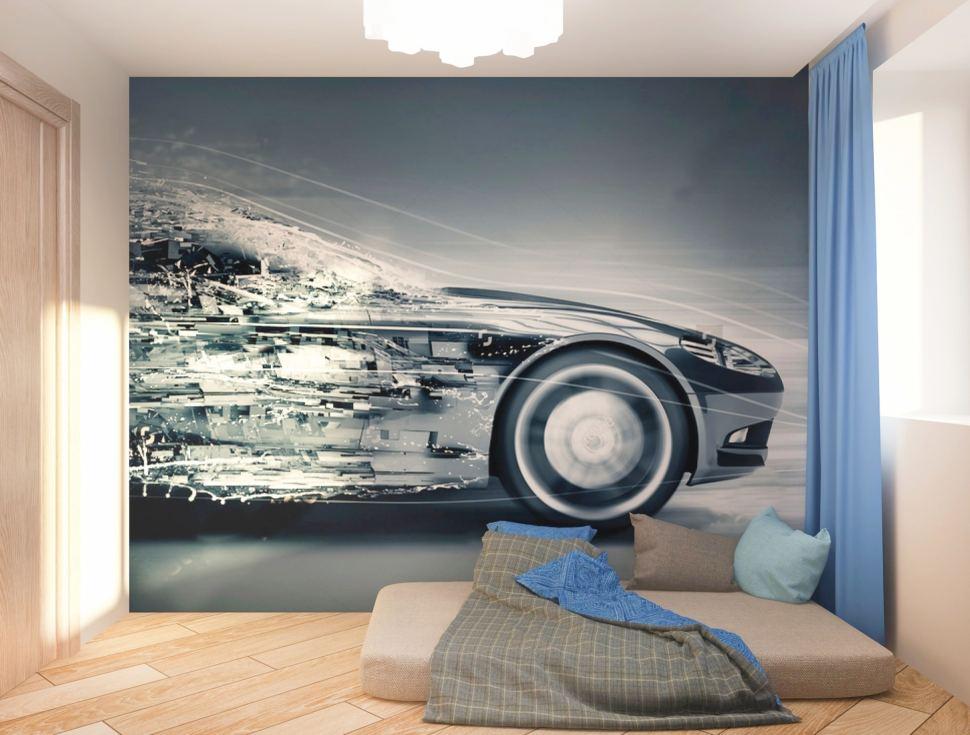 Визуализация спальни мальчика 7 кв.м в теплых тонах с акцентами, фотопанно, матрац, подушки, акцентные портьеры, межкомнатная дверь, машина