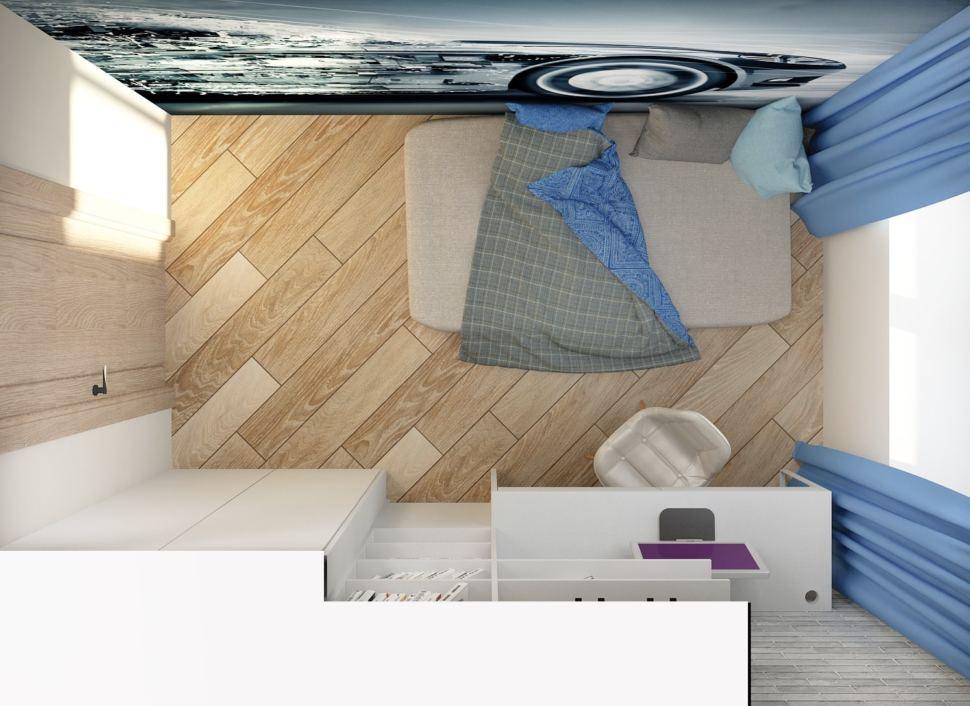 Интерьер спальни мальчика 7 кв.м в теплых тонах с серыми и синими акцентами, матрац, портьеры, рабочий стол, шкаф, пвх плитка