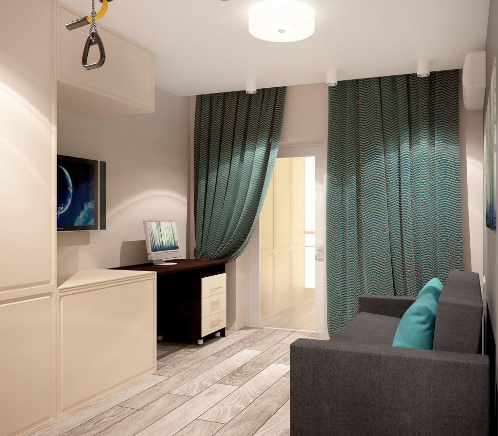 Визуализация гостевой комнаты 11 кв.м в нейтральных оттенках, белый шкаф, рабочий стол, телевизор, черный диван, портьеры, ламинат