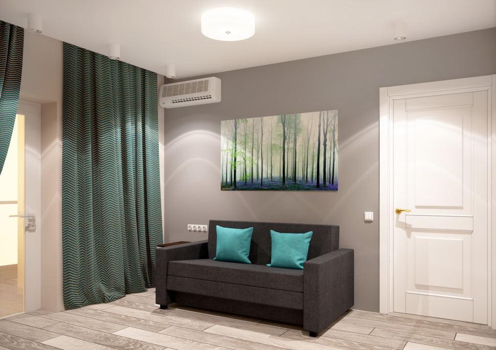 Дизайн-проект гостевой комнаты 11 кв.м в нейтральных оттенках, черный диван, зеленные портьеры, кондиционер, ламинат, светильники, декор