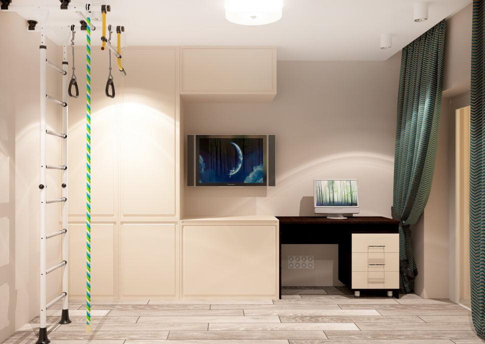 Визуализация гостевой комнаты 11 кв.м в нейтральных оттенках, потолочная люстра, шведская стенка, рабочий стол, система хранения, зеленные портьеры
