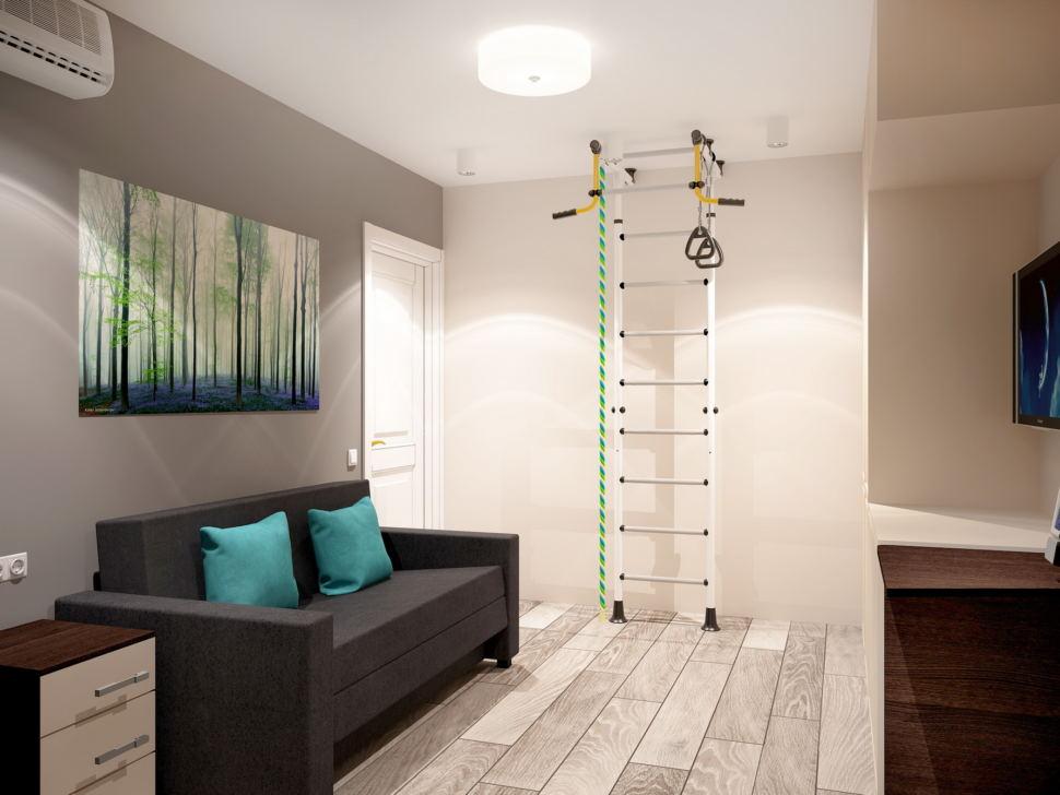 Интерьер гостевой комнаты 11 кв.м в нейтральных оттенках, серый диван, шведская стенка, рабочий стол, система хранения, ламинат, тумба, светильники