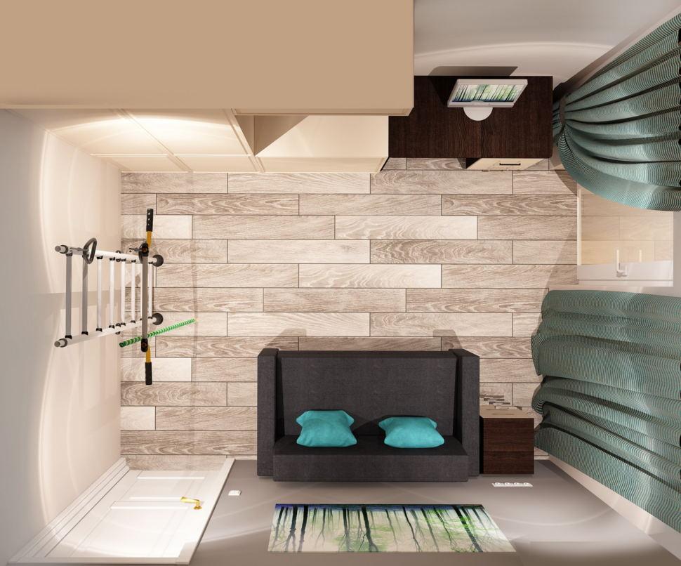 Визуализация гостевой 11 кв.м в нейтральных оттенках, серый диван, шведская стенка, рабочий стол, система хранения