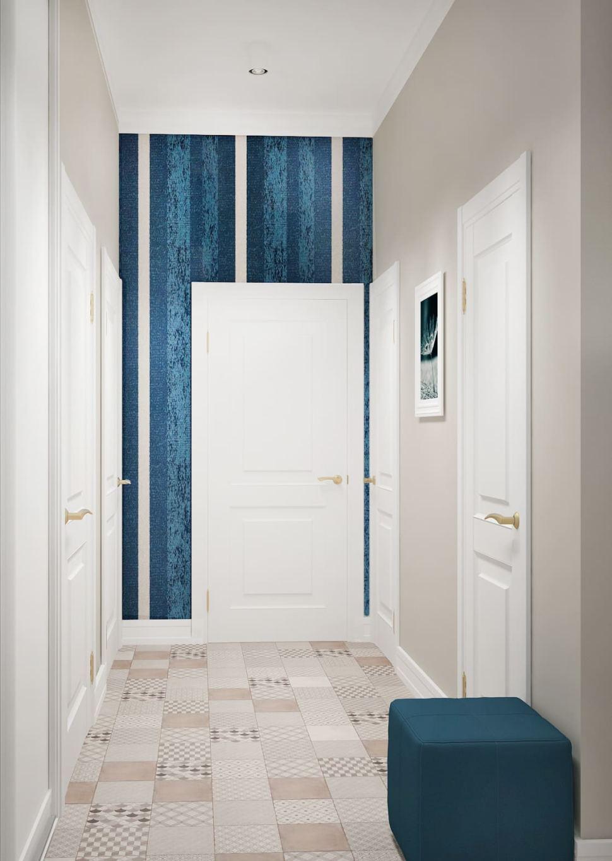 Визуализация прихожей 7 кв.м в бежевых тонах с синими акцентами, пуфик, керамическая плитка, обои, декор